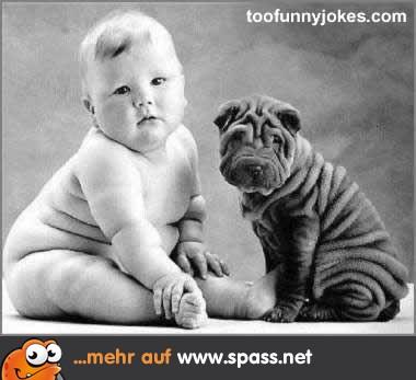 Baby und Hund mit Speckfalten