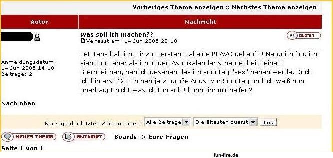 Dumme Sex-Frage Bravo