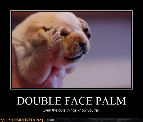 Welpe macht Facepalm mit zwei Pfoten